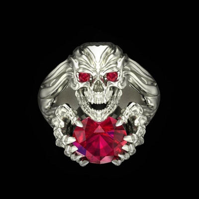 Blood Crystal Skull Ring