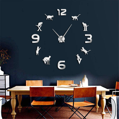 Cat Frameless Adorable Wall Clock