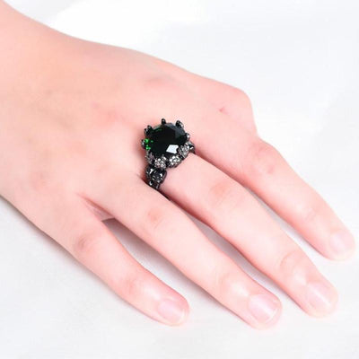 Big Gemstone Skull Ring