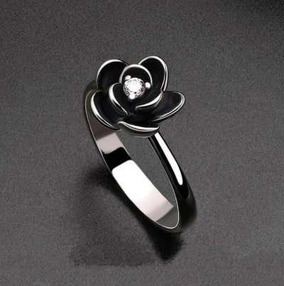 Black Dahlia Flower Ring