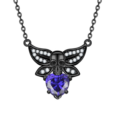 Skull Heart Crystal Zircon Skull Necklace