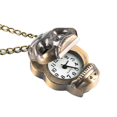 Steampunk Bronze Skull Quartz Pocket Watch