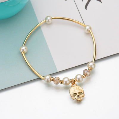 Charms Simulated Pearl Skull Bracelet