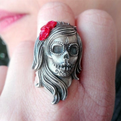 Stainless Steel Flower Sugar Skull Ring