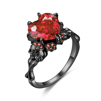 Vintage Heart Red Zircon Stone Skull Ring