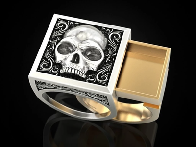 Unique Two Tone Secret Compartment Skull Ring
