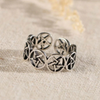 Hollow Round Star Adjustable Gothic Silver Ring