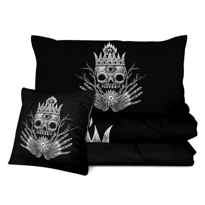 Third Eye King Skull Quilt Bedding Set
