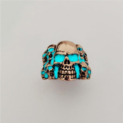 Classic Adjustable Glow in the Dark Skull Ring