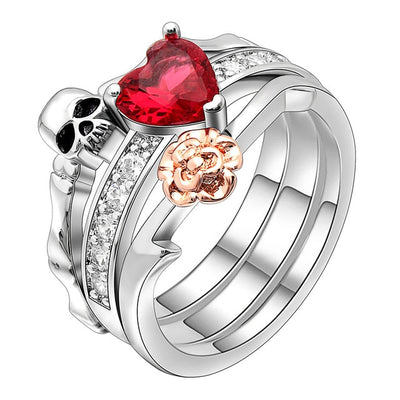 Red Heart Floral Skull Ring
