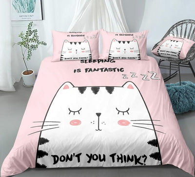 Sleeping Cat Pink Bedding Set