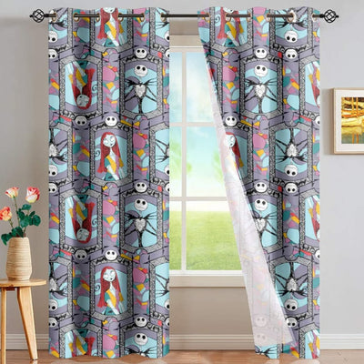 Sugar Skull Day Of The Dead Design Red Window Curtain
