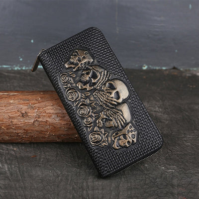 Leather Skull Vintage Cowhide Long Wallet
