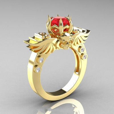 Skull Crystal CZ Devil Wings Skeleton Ring