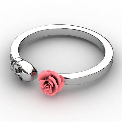 Skull Inlaid Red Rose Stainless Steel Ring