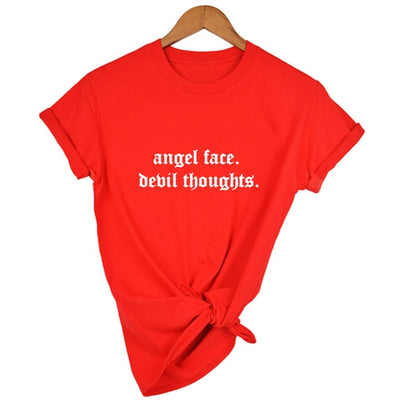 Angel Face Devil Thoughts Gothic T-shirt