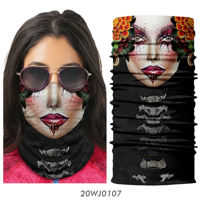 Sugar Skull Seamless Half face Mask