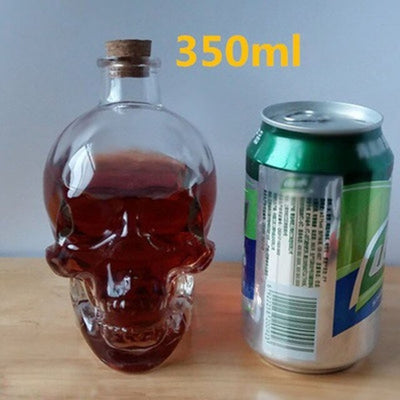 1 Pc Classic Glass Skull Vodka Wine Bottle