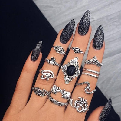 11 Pcs/Set Bohemian Retro Gem Gothic Ring