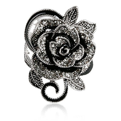 Black Rose Gothic Vintage Flower Ring