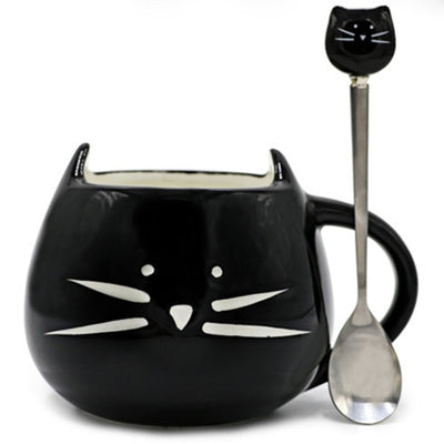 Cute Cat Coffee Mug With Spoon