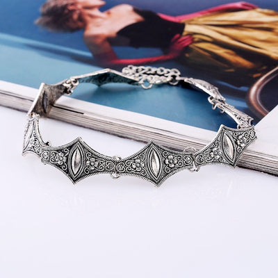 Gothic Silver Alloy Metal Charm Necklace Choker