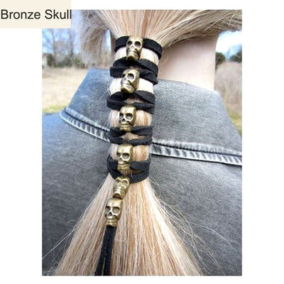 Bikerz™ Skull Leather Ponytail Holder