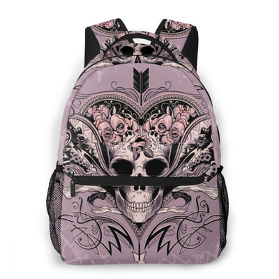 Skull Heart on a Dusty Mauve Backpack