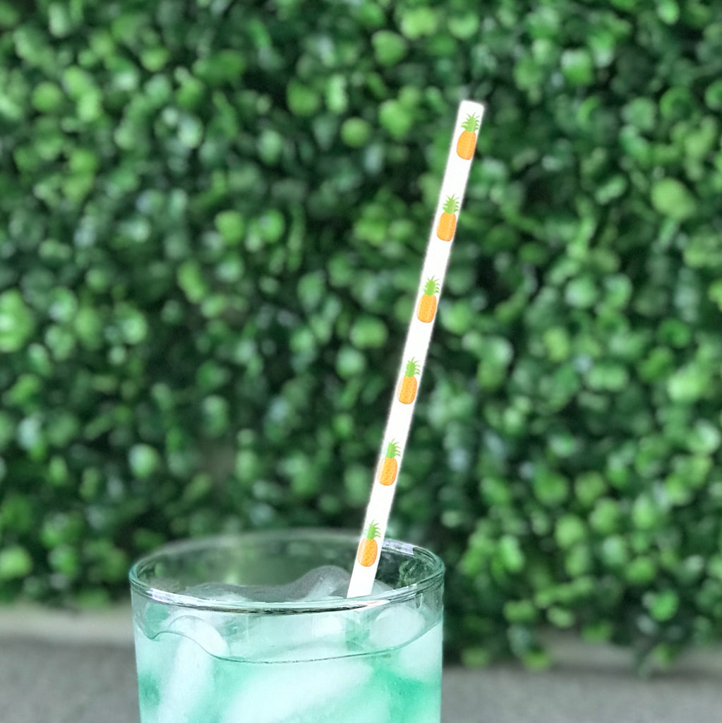 Pineapple printed paper straws