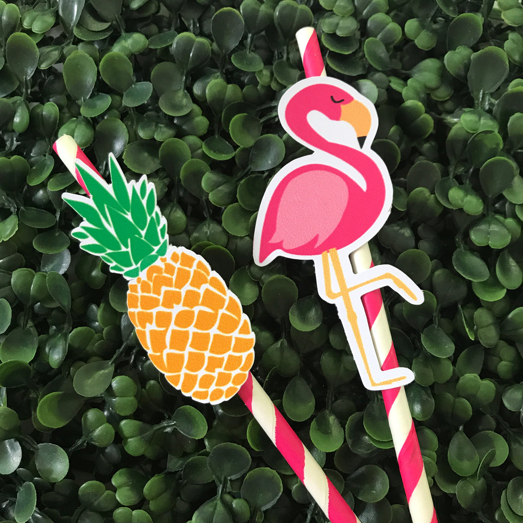 Pineapple and Flamingo paper straws
