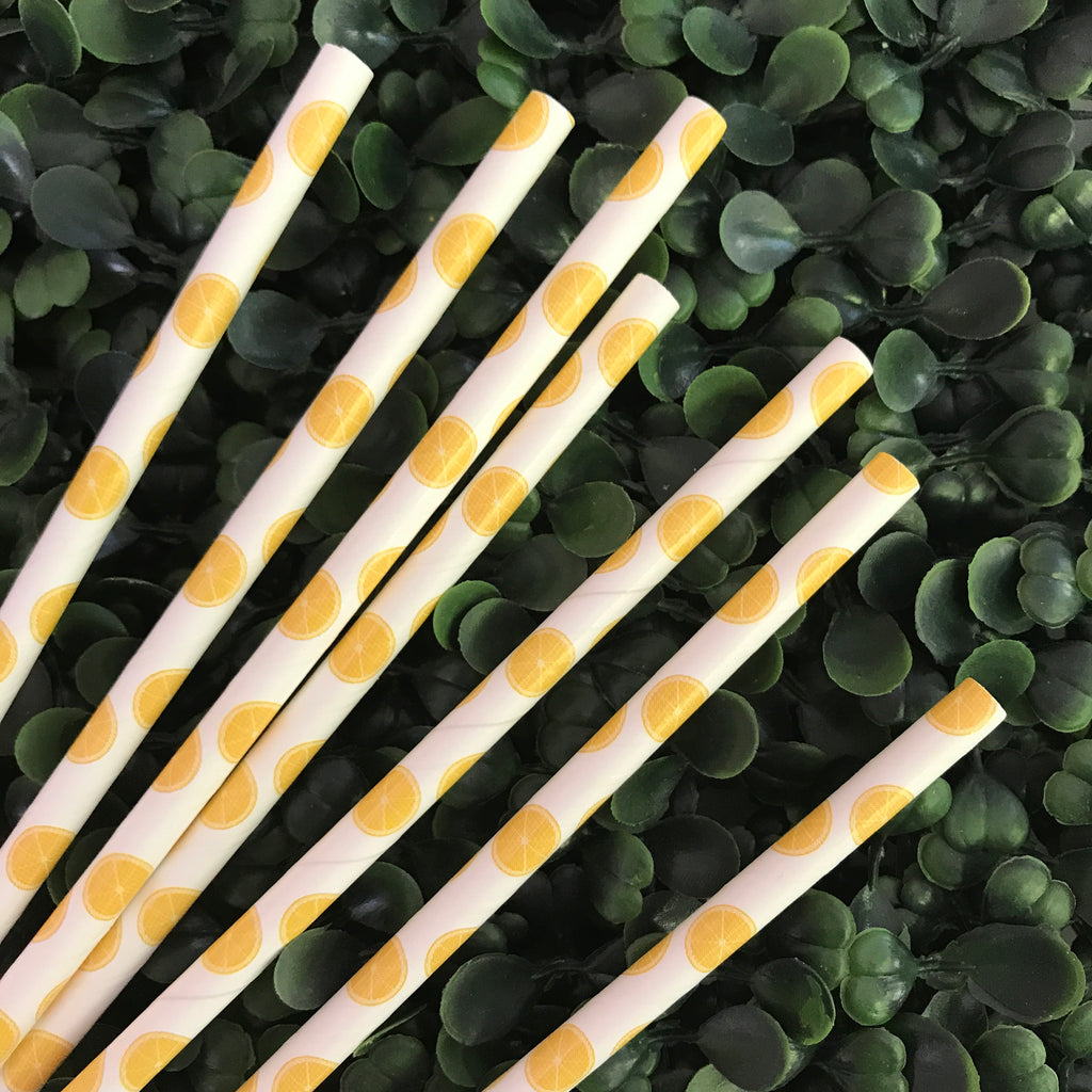 Lemon Wedge printed paper straws
