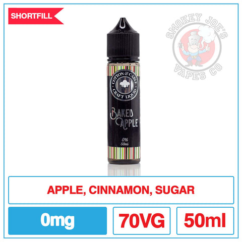 Cotton & Cable - Baked Apple Front Of Bottle | Smokey Joes Vapes Co