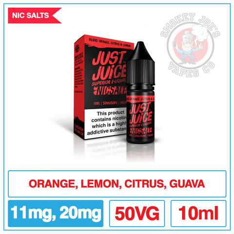 Just Juice Salt - Blood Orange Citrus And Guava| Smokey Joes Vapes Co