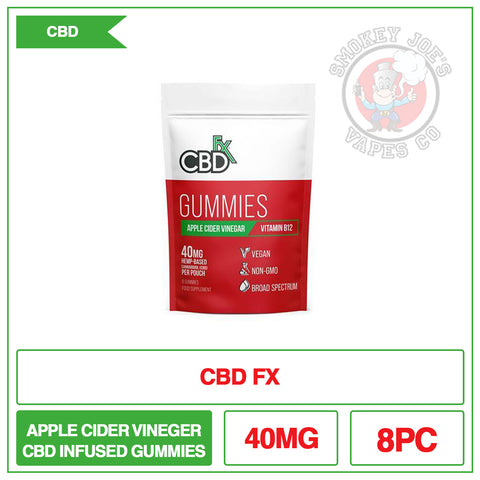 CBD +FX Hemp Gummies Apple Cider Vinegar Vitamin B12 40mg 8CT