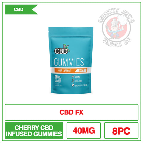 CBD +FX Hemp Gummies Hair Support Biotin 40mg 8CT