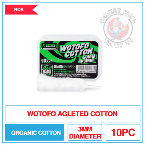 Wotofo - Agleted - Organic Cotton 3mm | Smokey Joes Vapes Co