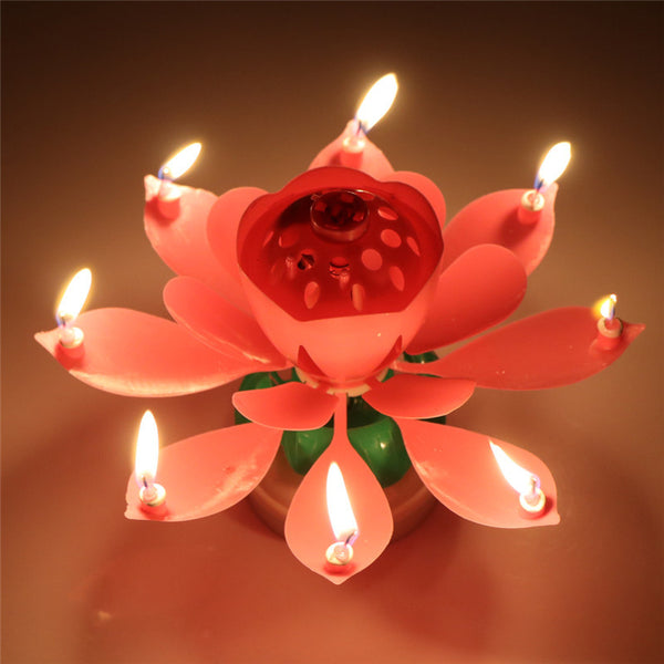 LemonBest Musical Rotating Lotus Flower Birthday Candle Cake Topper