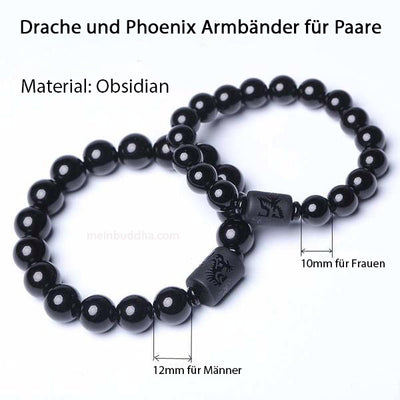 Drache und Phoenix Obsidian Armband for €30.00