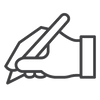 Written Content Letter Hand holding pen icon