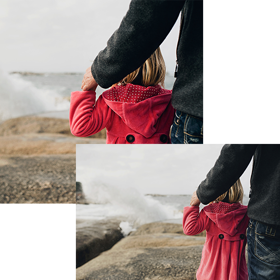 2 images showing girl looking at waves