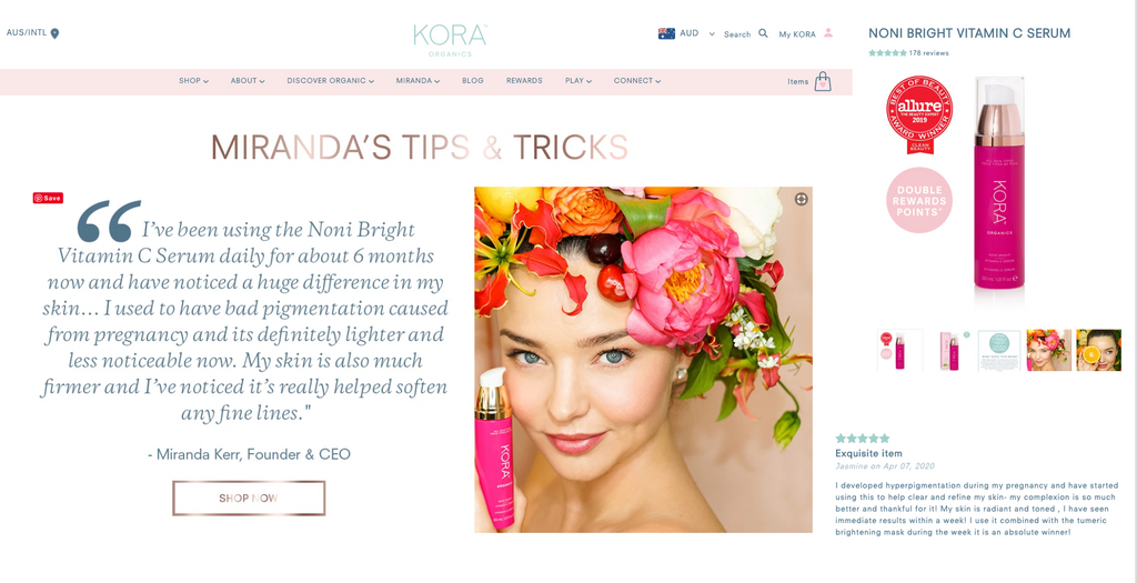 Kora Organics Product, Reviews pages