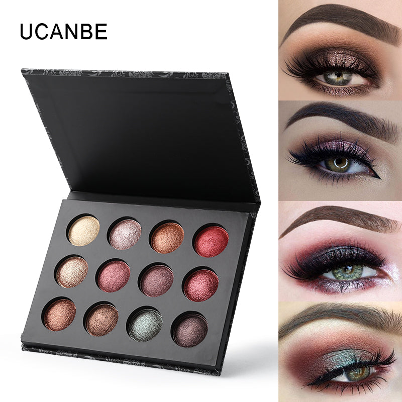 12 Colors Baked Eyeshadow Palette