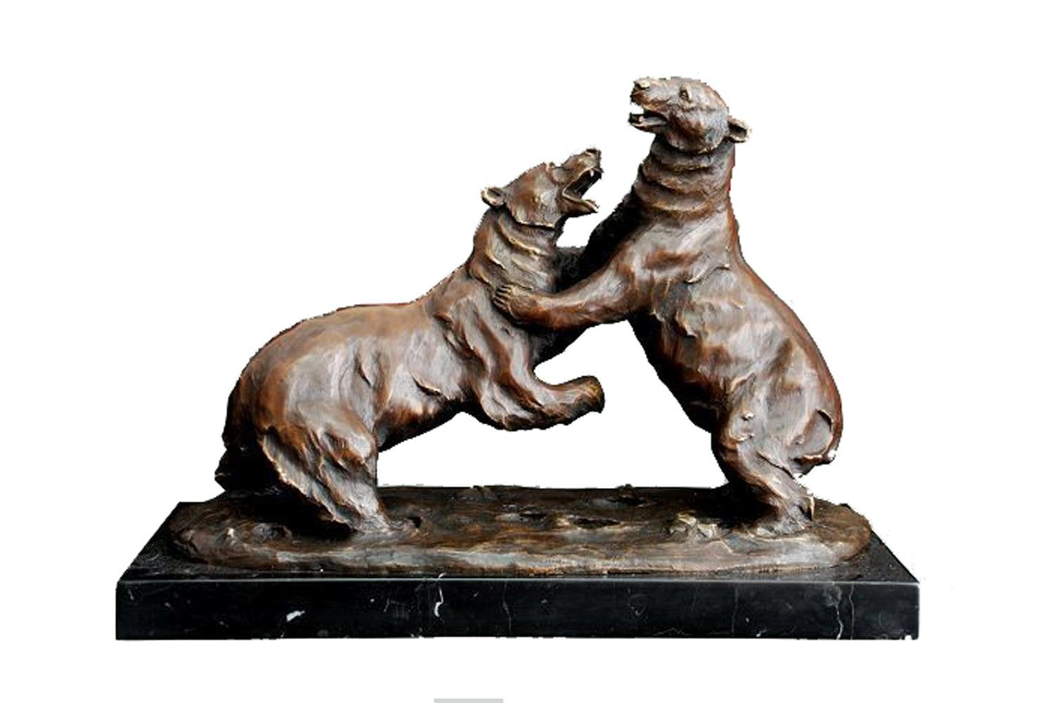 Bronze Statue Animal Sculpture Polar Bears Fight Decor Garden TPAL-197