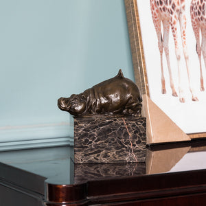 Hippo Bronze Sculpture Home Deco Metal African Animal Statue TPAL-270