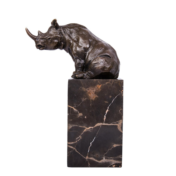 African Rhino Art Bronze Statue Deco Animal Sculpture TPAL-279