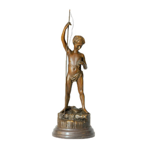 Fishing Boy Bronze Statue A.Bofill Art Crafts Small Sculpture TPE-343