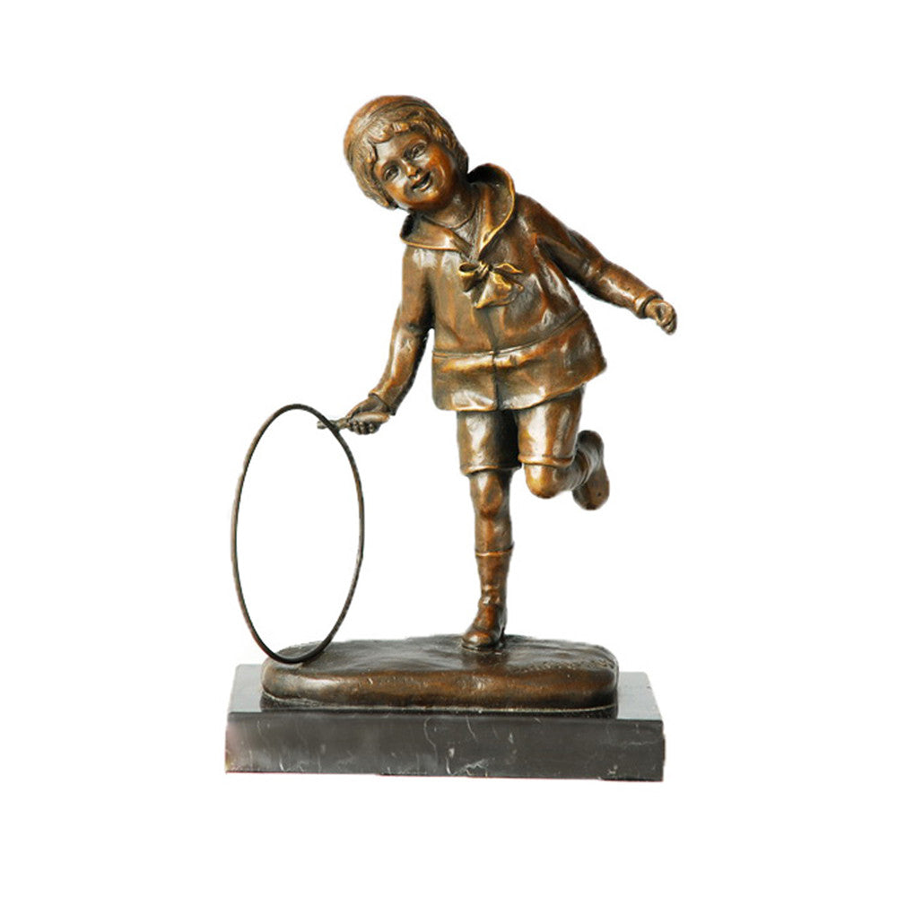 Hula-hoop Child Metal Statue Cute Kid Artwork Bronze Sculpture TPE-349