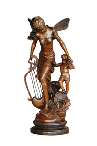 Toperkin Music Art Harp Mother-Son Fairy Hand-Made Brass Sculpture Statue TPE-882
