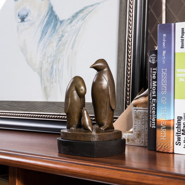 Penguin Family Bronze Statues Animal Metal Sculpture Art Deco TPY-198