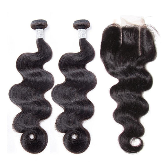 BUW Body Wave 2 Bundles With 4x4 Lace Closure Free Part 9A 100% Virgin Hair Natural Color